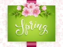Cartão do convite do casamento Vector o cartão do convite com fundo floral e o quadro elegante com texto Tipografia da mola Imagem de Stock