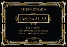 Cartão do convite do estilo do art deco Fotografia de Stock