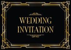Cartão do convite do estilo do art deco Imagens de Stock Royalty Free