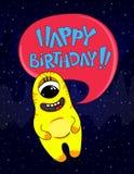 Cartão do convite do feliz aniversario Ilustração do vetor Monstro bonito e engraçado dos desenhos animados Imagens de Stock Royalty Free