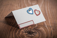 Cartão do convite do Livro Branco na madeira Imagem de Stock