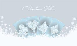 Cartão do convite do pôquer do Natal Imagens de Stock