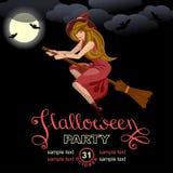 Cartão do convite do partido de Halloween Imagens de Stock Royalty Free
