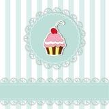 Cartão do convite do queque da cereja Fotos de Stock