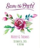 Cartão do convite do vetor com a aquarela floral Imagem de Stock Royalty Free