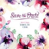 Cartão do convite do vetor com elementos da aquarela Fotos de Stock Royalty Free