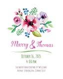 Cartão do convite do vetor com elementos da aquarela Fotos de Stock