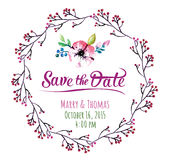 Cartão do convite do vetor com elementos da aquarela Imagens de Stock