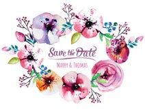 Cartão do convite do vetor com elementos da aquarela Fotografia de Stock Royalty Free