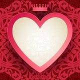 Cartão do convite do vintage com coração e motivos florais. Imagens de Stock Royalty Free