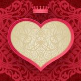 Cartão do convite do vintage com coração e motivos florais. Fotografia de Stock