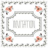 Cartão do convite do vintage com quadro e pêssego Foto de Stock Royalty Free