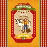 Cartão do convite do vintage da feira de condado Fotografia de Stock Royalty Free