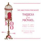 Cartão do convite do vintage do casamento Fotos de Stock Royalty Free