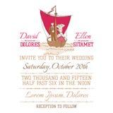 Cartão do convite do vintage do casamento Imagens de Stock Royalty Free