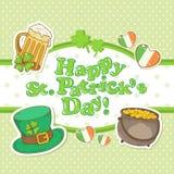 Cartão do convite dos elementos do dia de Patricks de Saint Fotos de Stock Royalty Free