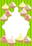Cartão do convite dos queques Fotografia de Stock