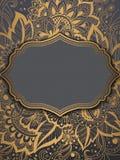 Cartão do convite e do anúncio do casamento com o ornamento no estilo árabe Teste padrão do Arabesque Ornamento étnico oriental Foto de Stock Royalty Free
