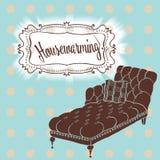Cartão do convite, mobília - o sofá clássico elegante na polca faz Imagens de Stock Royalty Free