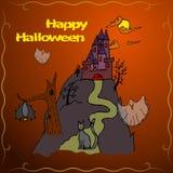 Cartão do convite ou cartaz do feriado feliz de Dia das Bruxas Fotografia de Stock Royalty Free