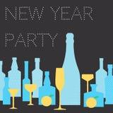 Cartão do convite para o partido do ano novo ilustração stock
