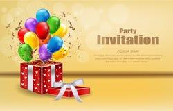 Cartão do convite do partido com vetor dos presentes e dos balões comemore cartazes da bandeira dos eventos ilustração royalty free