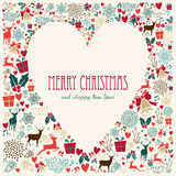 Cartão do coração do amor do Feliz Natal do vintage Fotografia de Stock Royalty Free