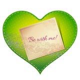 Cartão do coração do laço Fotografia de Stock Royalty Free