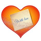Cartão do coração do laço Imagens de Stock Royalty Free