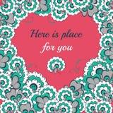 Cartão do coração dos lflowers do dia de Valentim do vetor Imagens de Stock Royalty Free