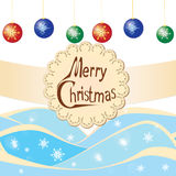 Cartão do desejo dos flocos de neve com bolas Imagem de Stock Royalty Free