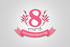 Cartão do design floral para o dia internacional do ` s das mulheres Bandeira cor-de-rosa da cor com texto o 8 de março, dia do ` Foto de Stock
