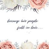 Cartão do design floral do vetor A prata branca do moleiro empoeirado da flor da peônia de Rosa do jardim do pêssego sae do ramal ilustração royalty free