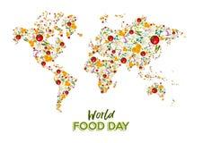 Cartão do dia do alimento do mapa do mundo vegetal foto de stock royalty free