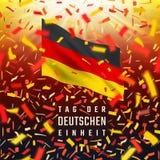 Cartão do Dia da Independência de Alemanha com bandeira, confete Fotos de Stock Royalty Free