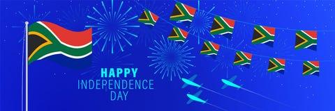 Cartãodo Dia da Independência de dezembro 11 África do Sul Fundo da celebração com fogos de artifício, bandeiras, mastro de band ilustração royalty free