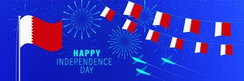 Cartãodo Dia da Independência de dezembro 16 Barém Fundo da celebração com fogos de artifício, bandeiras, mastro de bandeira e t ilustração royalty free