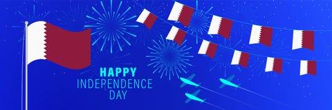 Cartãodo Dia da Independência de dezembro 18 Catar Fundo da celebração com fogos de artifício, bandeiras, mastro de bandeira e t ilustração do vetor