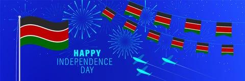 Cartãodo Dia da Independência de dezembro 12 Kenya Fundo da celebração com fogos de artifício, bandeiras, mastro de bandeira e t ilustração stock