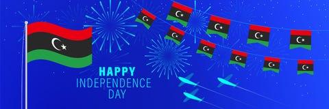 Cartãodo Dia da Independência de dezembro 24 Líbia Fundo da celebração com fogos de artifício, bandeiras, mastro de bandeira e t ilustração stock