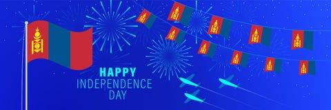 Cartãodo Dia da Independência de dezembro 29 Mongólia Fundo da celebração com fogos de artifício, bandeiras, mastro de bandeira  ilustração do vetor