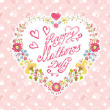 Cartão do dia da mãe do vintage Grinalda floral do coração ilustração royalty free