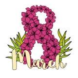 Cartão do dia das mulheres internacionais com flores cor-de-rosa Imagens de Stock Royalty Free