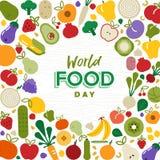 Cartão do dia de alimento de mundo com vegetais e fruto foto de stock