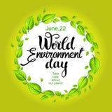 Cartão do dia de ambiente de mundo Imagens de Stock