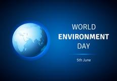Cartão do dia de ambiente de mundo, cartaz com globo Imagens de Stock