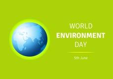 Cartão do dia de ambiente de mundo, cartaz com globo Imagem de Stock Royalty Free