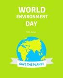 Cartão do dia de ambiente de mundo, cartaz com globo Ilustração do conceito do dia de ambiente de mundo Terra com liso Imagens de Stock