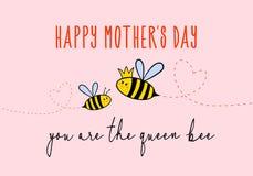 Cartão do dia de mãe com abelha bonito, vetor imagem de stock royalty free