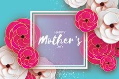 cartão do dia de mães Dia do `s das mulheres Flor cor-de-rosa cortada papel do ouro Ramalhete bonito do origâmi Frame quadrado te ilustração stock